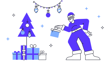 style Santa is leaving a present images in PNG and SVG | Icons8 Illustrations