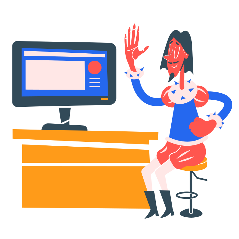 Working on computer Clipart illustration in PNG, SVG