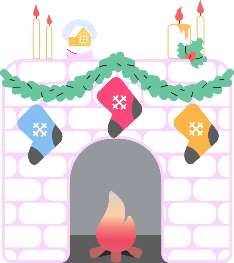 fireplace decorated Clipart illustration in PNG, SVG