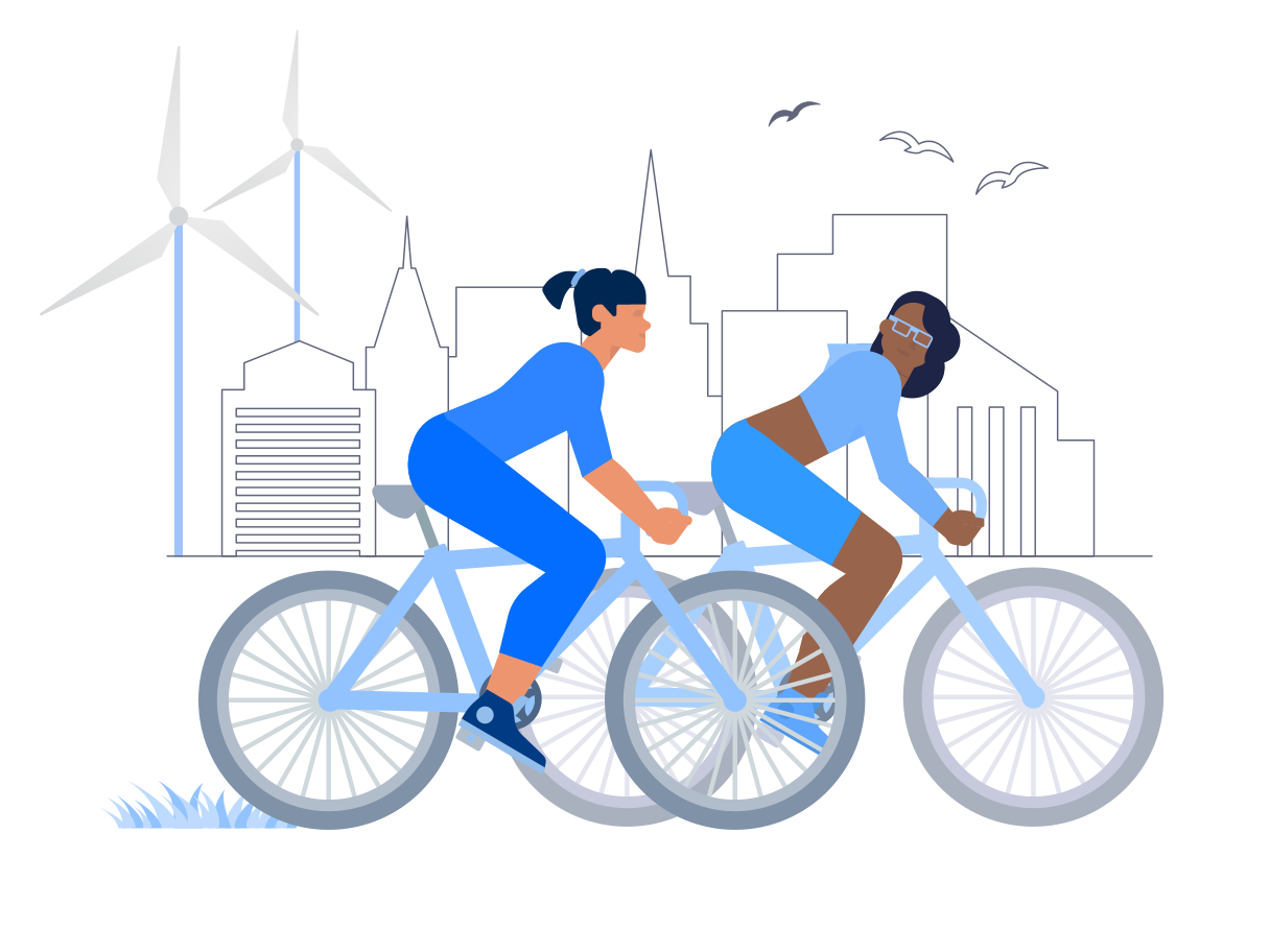 Cycling With Friend Clipart illustration in PNG, SVG