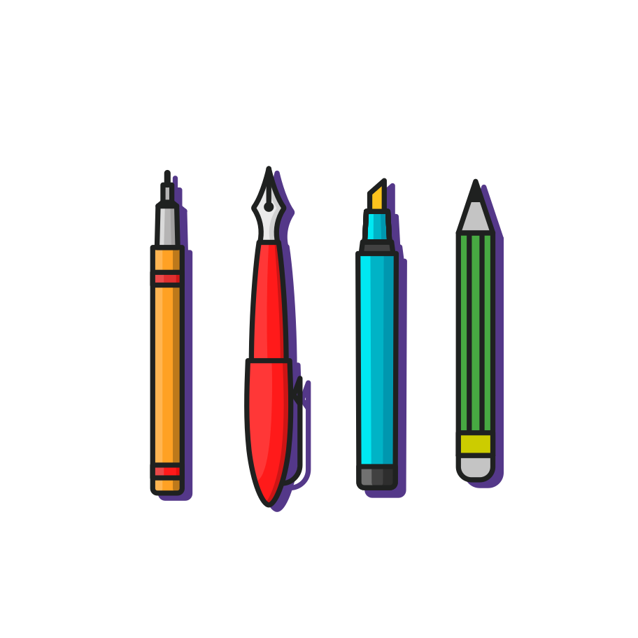 Writing tools Clipart illustration in PNG, SVG