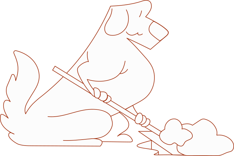 i investmen dog with spade Clipart illustration in PNG, SVG