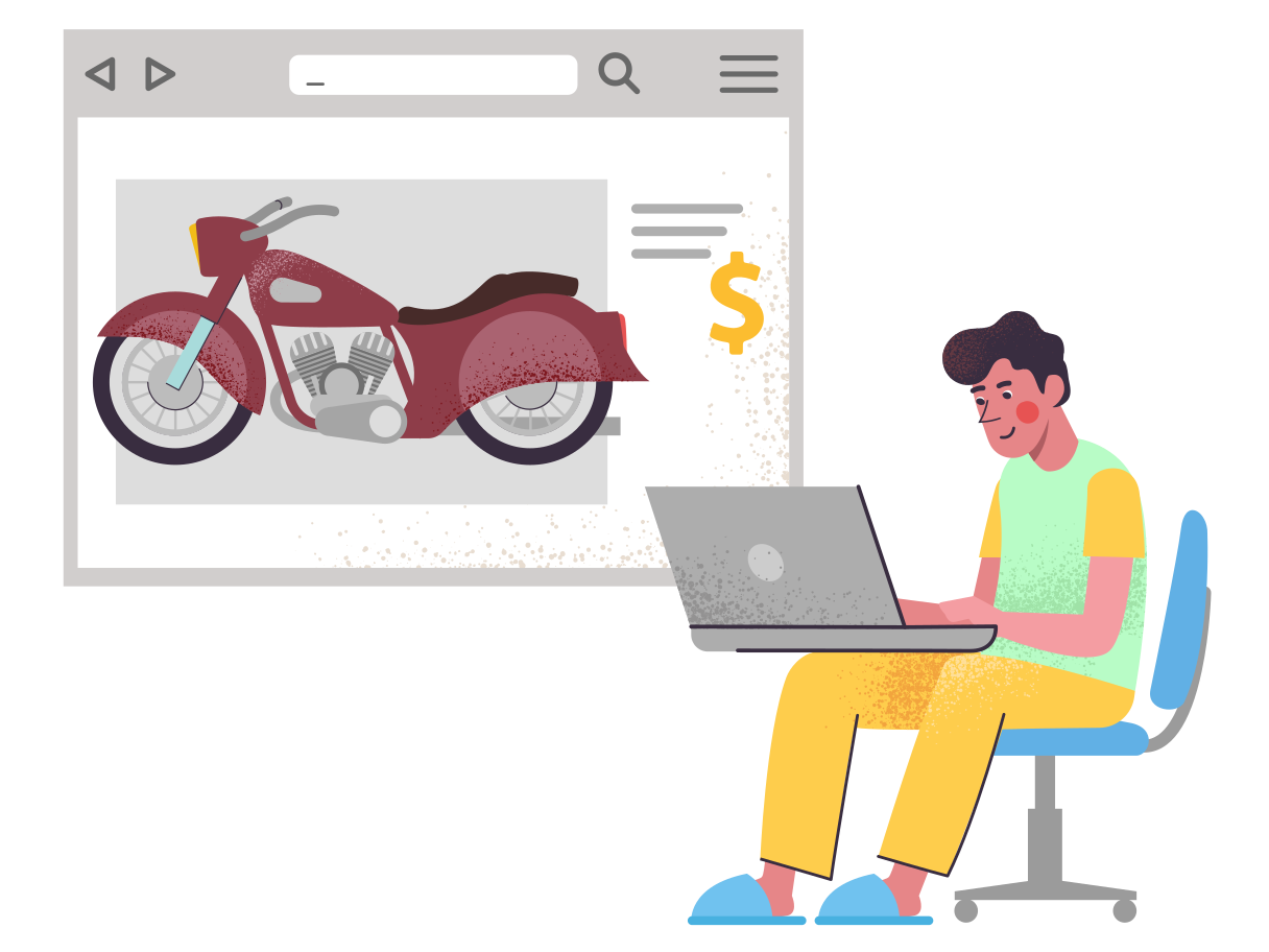 style Buy a motorcycle on the internet Vector images in PNG and SVG   Icons8 Illustrations