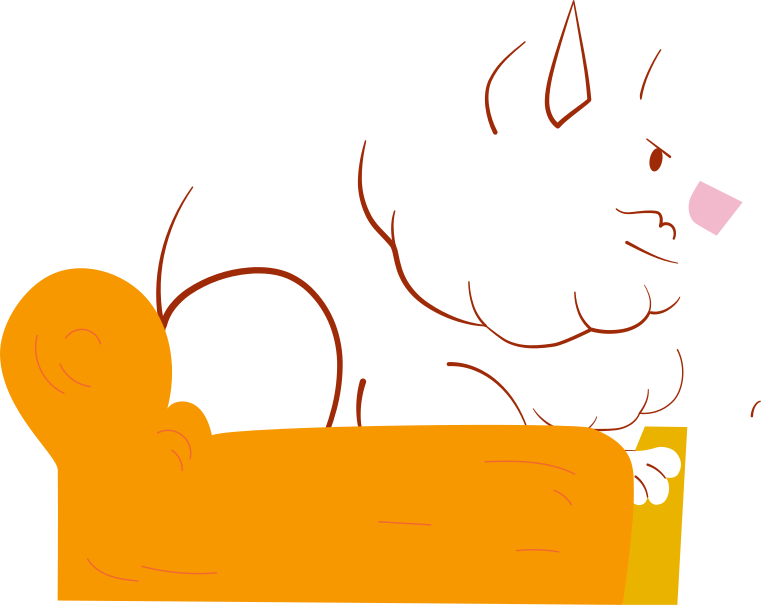white pomeranian dog in the chair Clipart illustration in PNG, SVG
