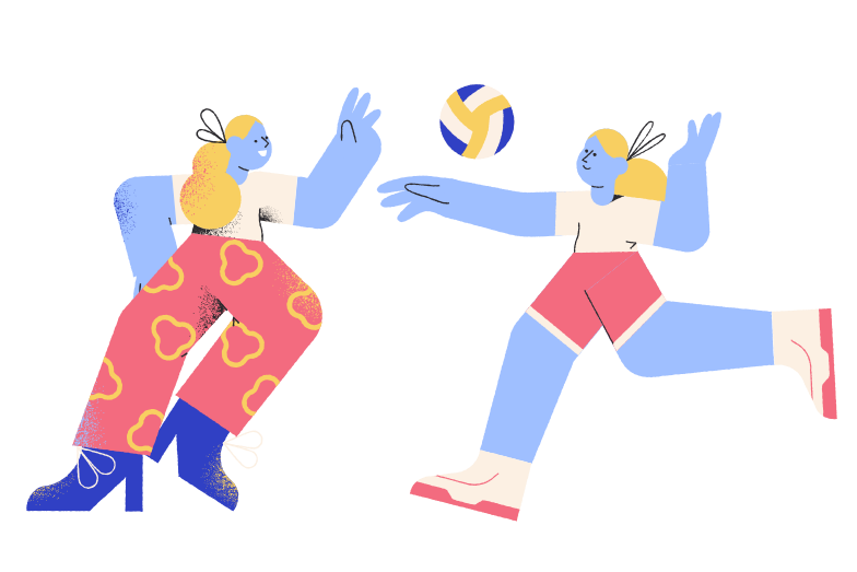 Playing volleyball Clipart illustration in PNG, SVG