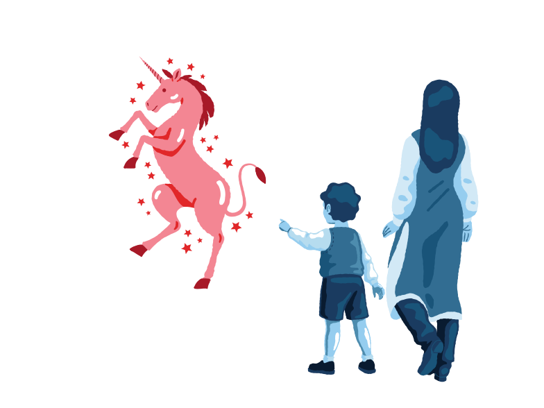 Meeting with a unicorn Clipart illustration in PNG, SVG