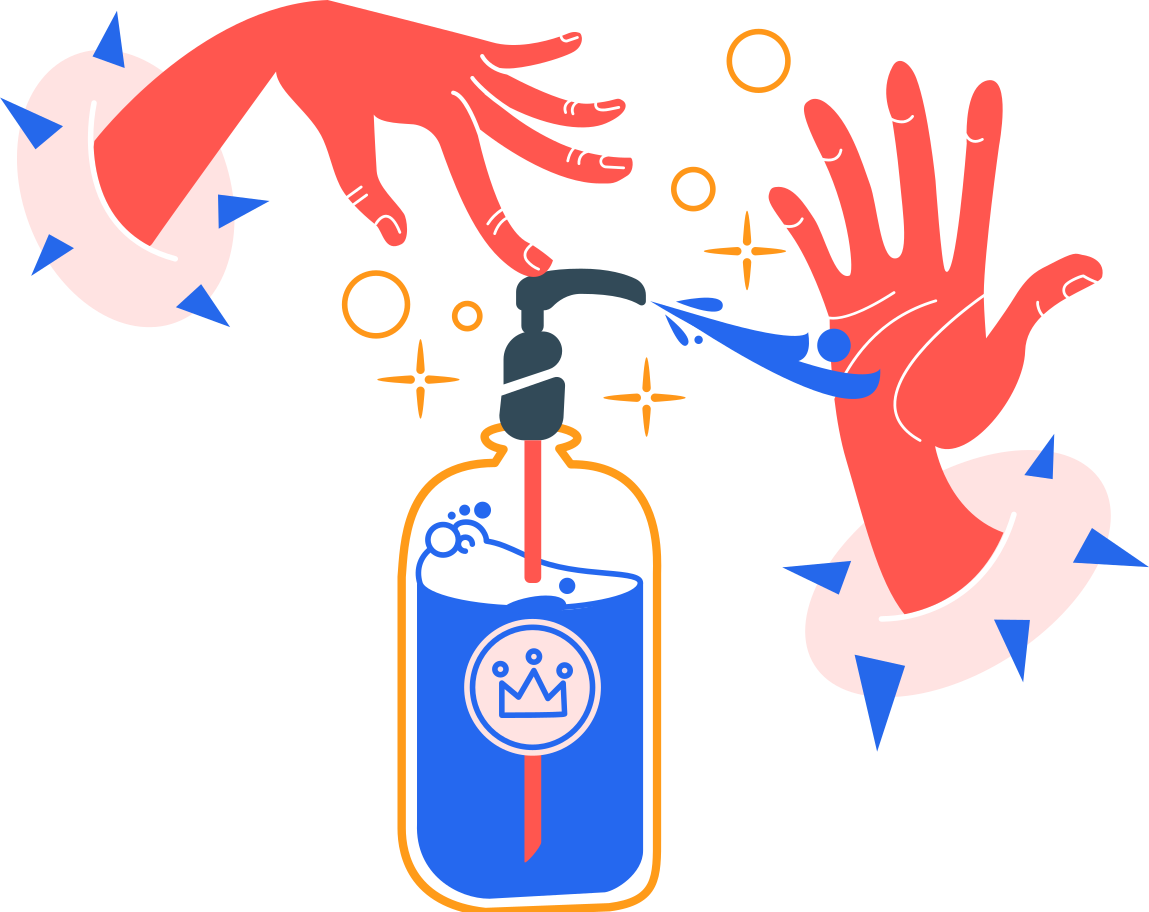 washing hands with an antiseptic Clipart illustration in PNG, SVG