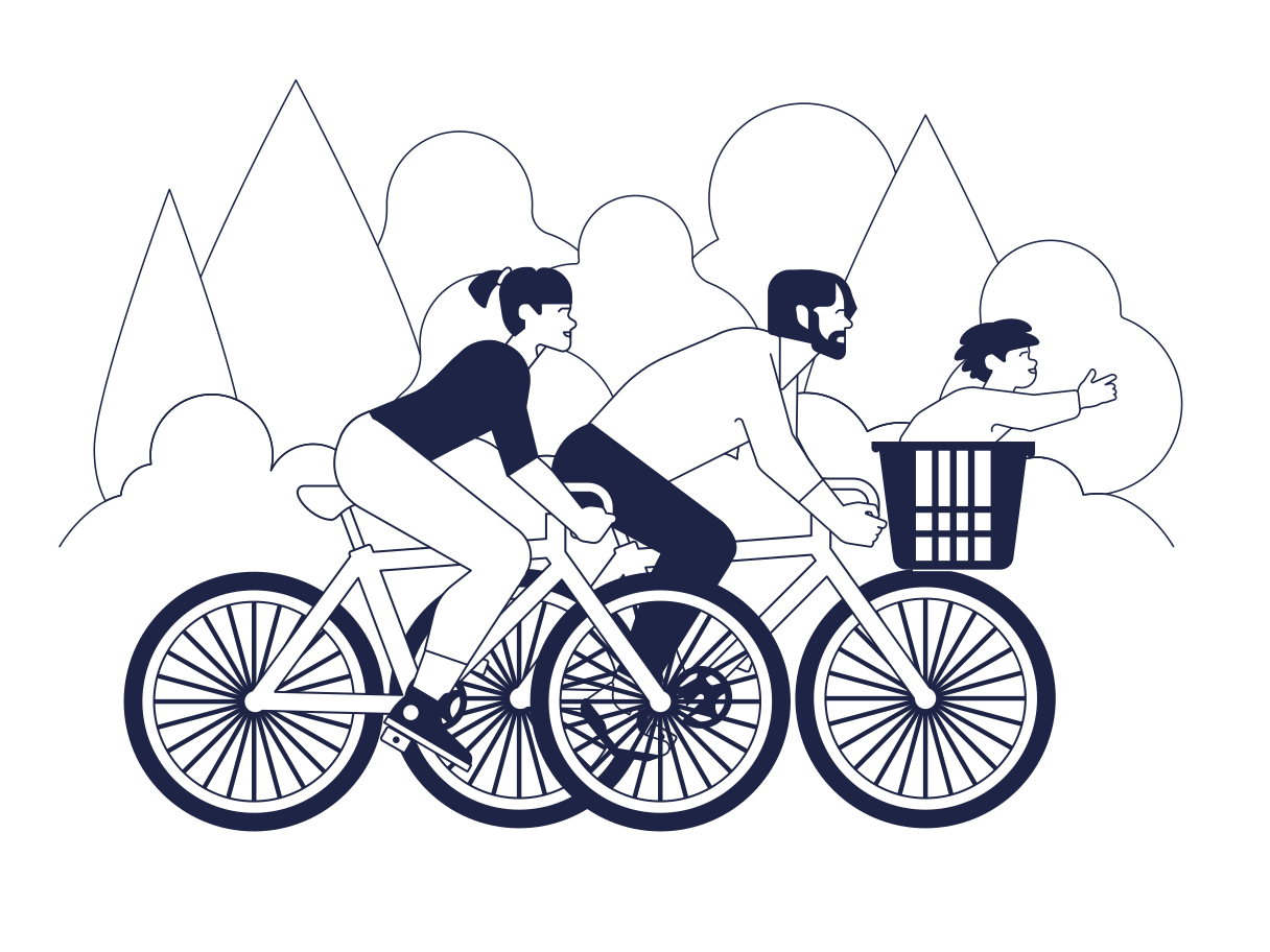 Family Cycling Clipart illustration in PNG, SVG