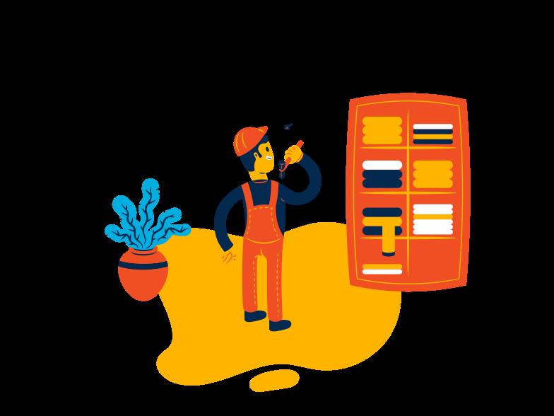 Handyman fixing wardrobe Clipart illustration in PNG, SVG