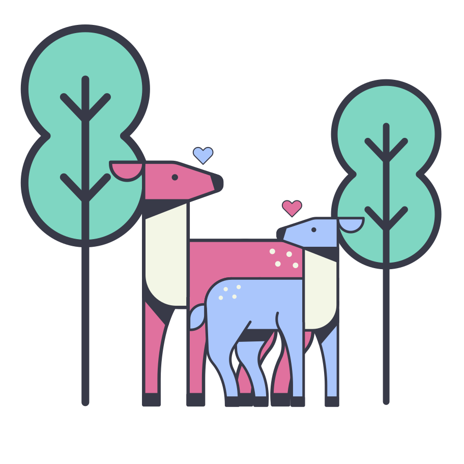Lovely deers in the forest Clipart illustration in PNG, SVG