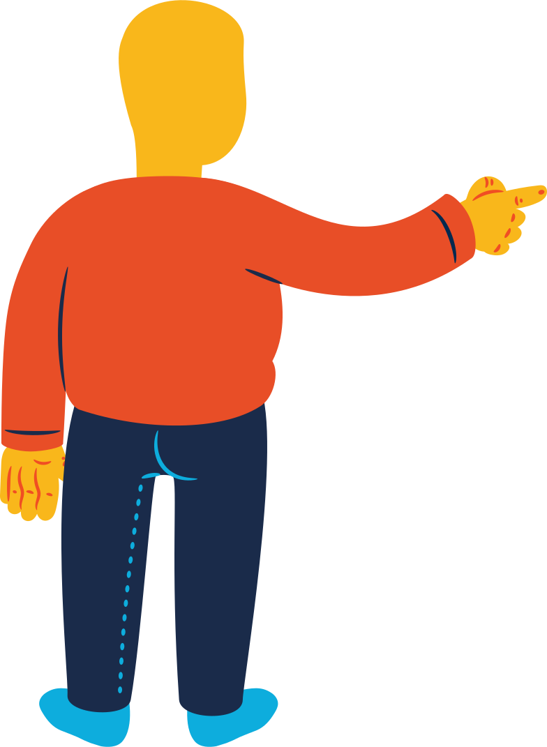 style chubby man pointing back Vector images in PNG and SVG | Icons8 Illustrations