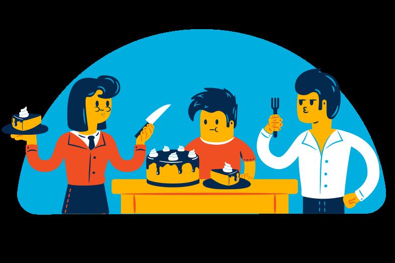Eating cake Clipart illustration in PNG, SVG