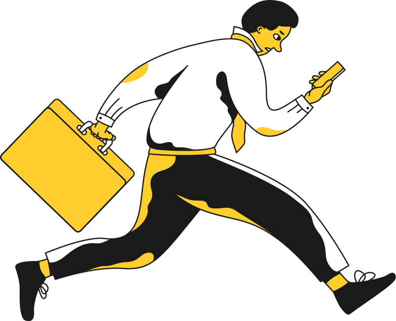 office worker businessman running Clipart illustration in PNG, SVG