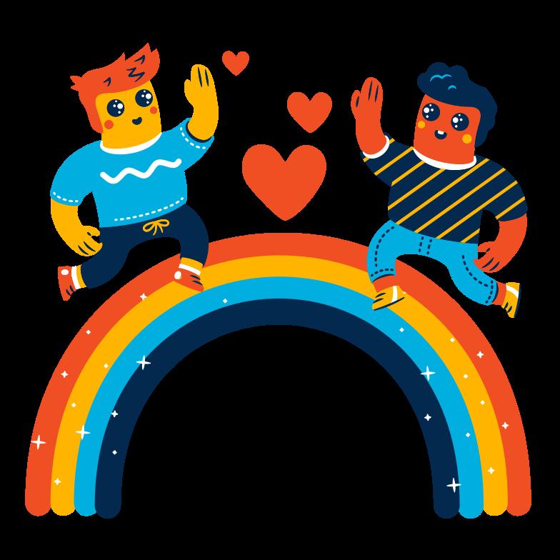 Imágenes vectoriales Caminando sobre un arcoiris en PNG y SVG estilo  | Ilustraciones Icons8