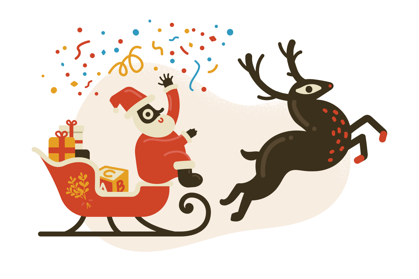 Santa claus in sleigh Clipart illustration in PNG, SVG