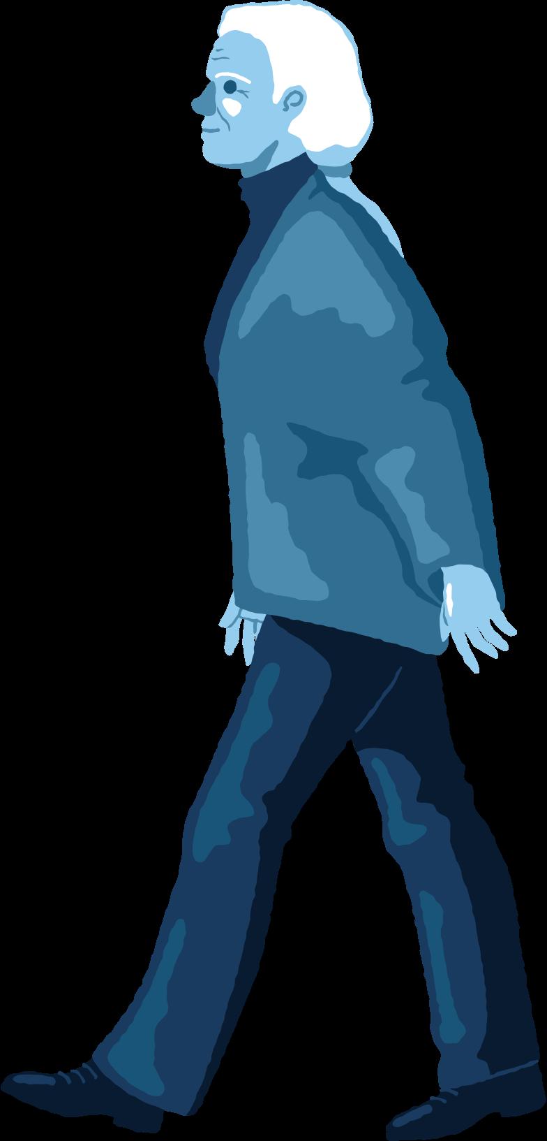 Illustration clipart Vieille femme marchant aux formats PNG, SVG