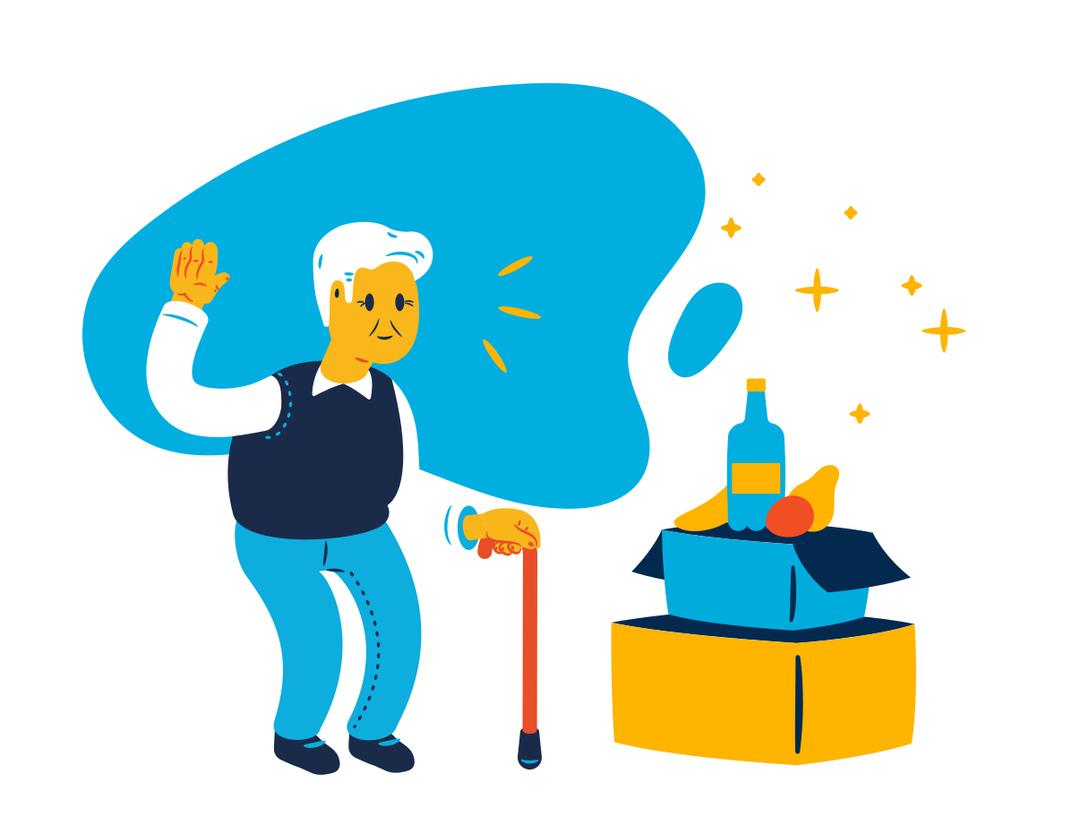 Grocery delivery for seniors Clipart illustration in PNG, SVG