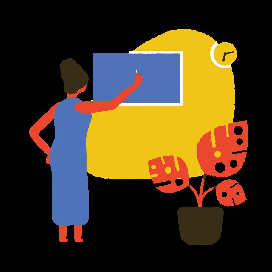 Teacher at the blackboard Clipart illustration in PNG, SVG