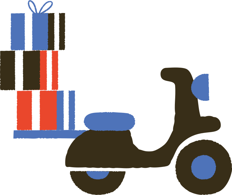 moped with gifts Clipart illustration in PNG, SVG