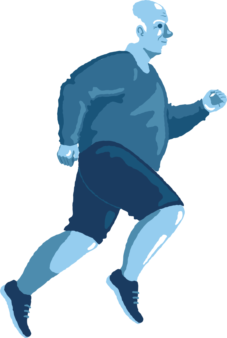 old chubby man running Clipart illustration in PNG, SVG