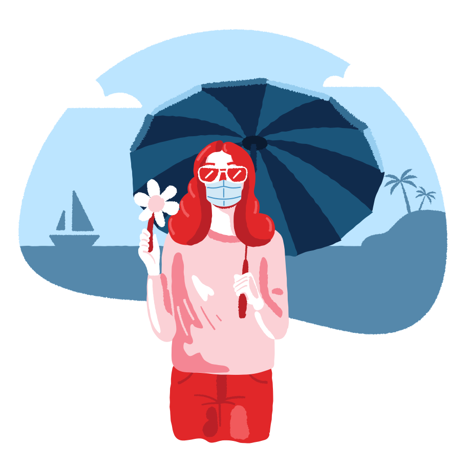 Girl on the beach with umbrella. Wearing medical mask. Clipart illustration in PNG, SVG