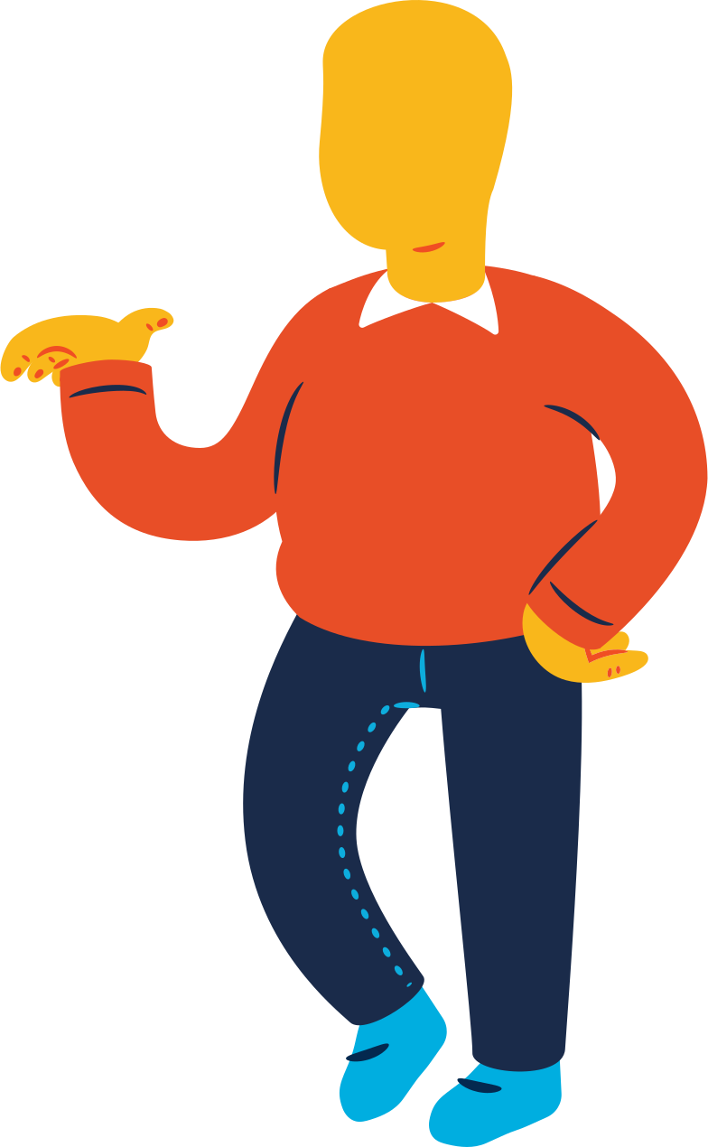 chubby man standing profile Clipart illustration in PNG, SVG