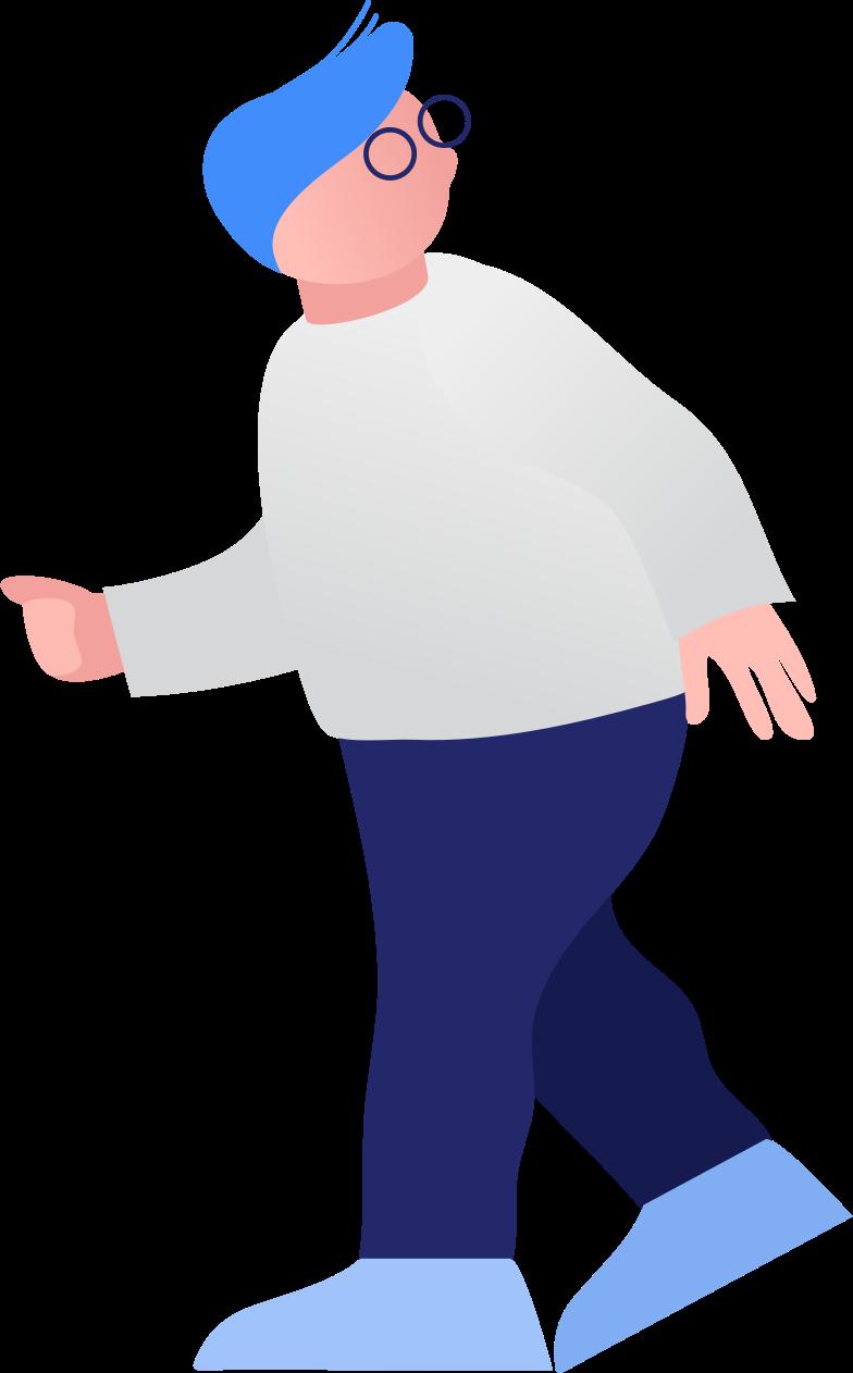 fat boy walking Clipart illustration in PNG, SVG