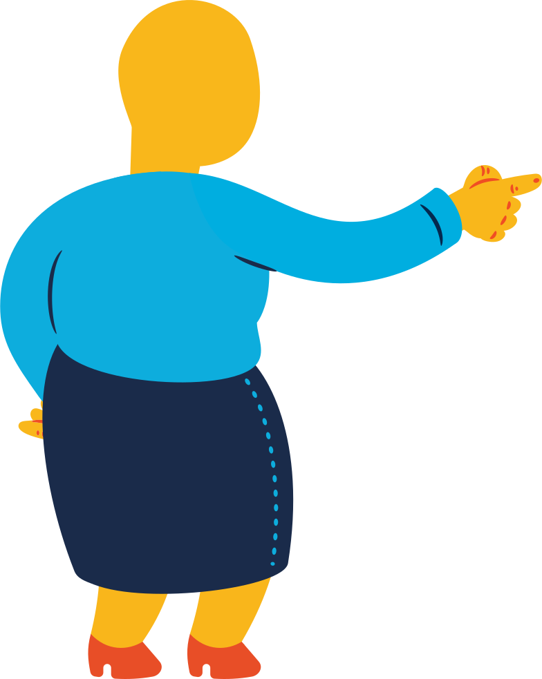 chubby old woman pointing back Clipart illustration in PNG, SVG