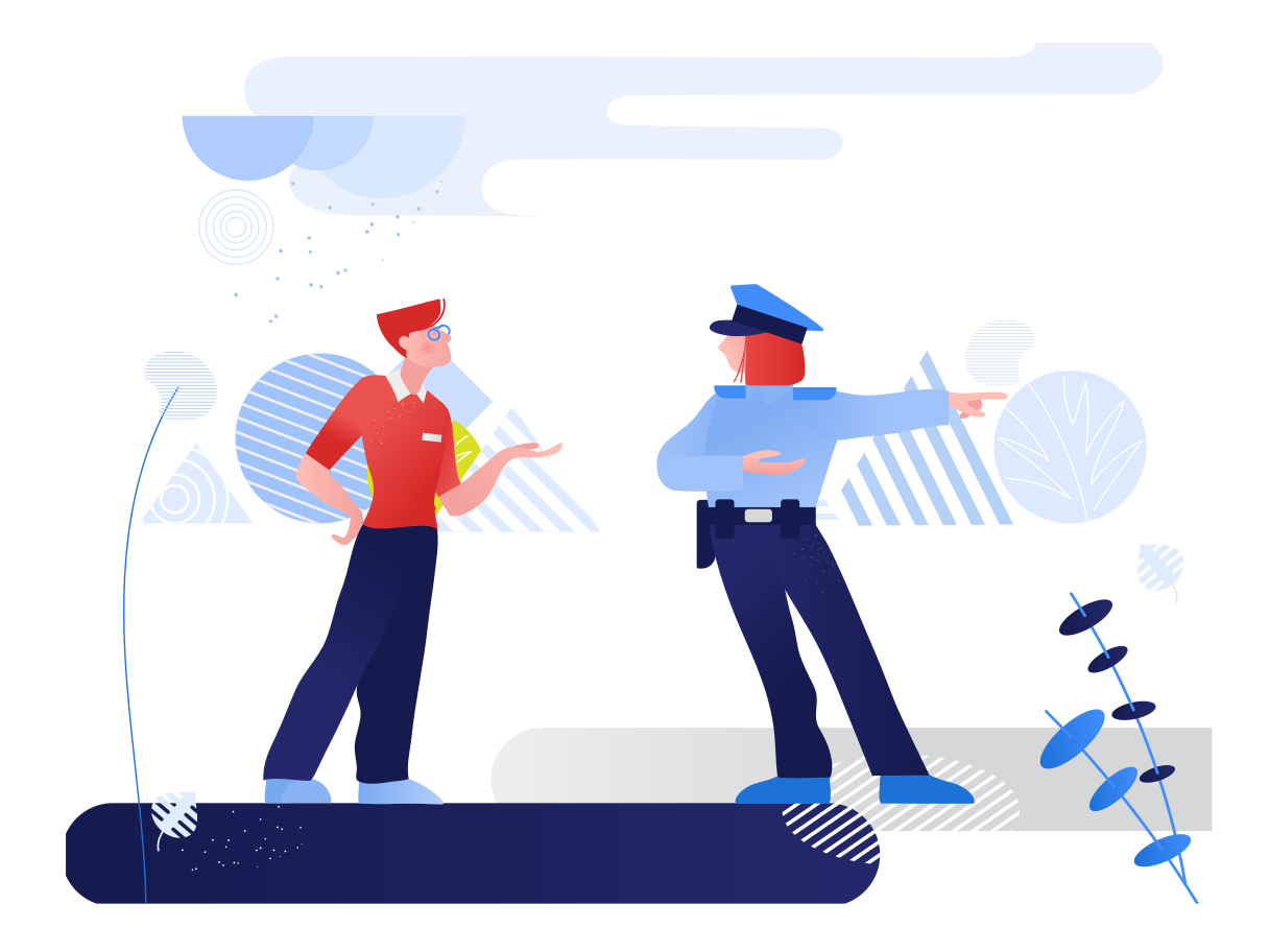 Conversation with the police Clipart illustration in PNG, SVG