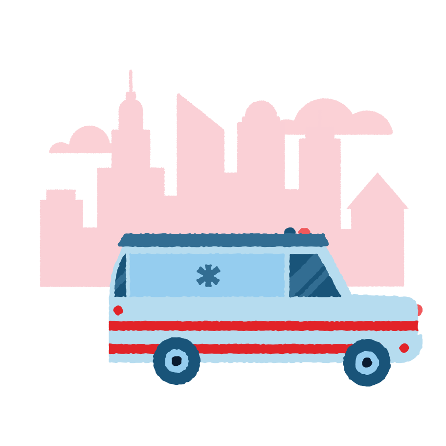 Ambulance in a hurry Clipart illustration in PNG, SVG