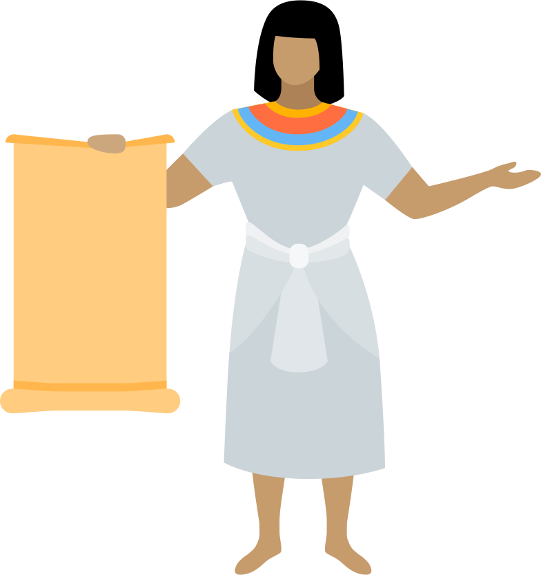 egyptian with scroll Clipart illustration in PNG, SVG
