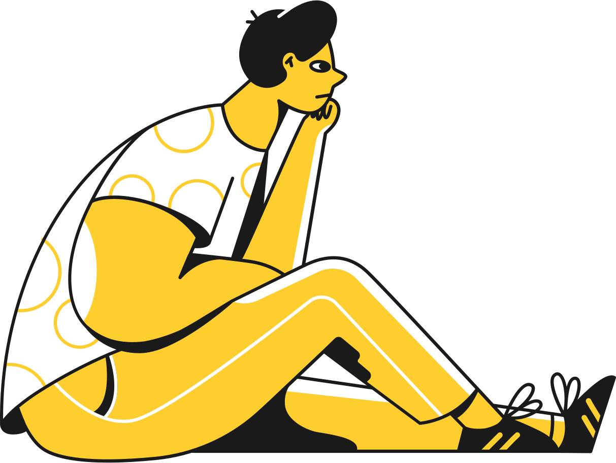 man sitting thinking Clipart illustration in PNG, SVG