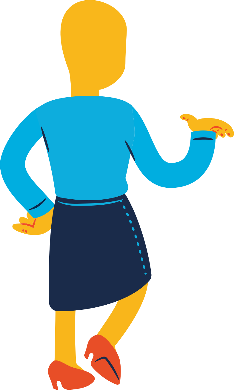 woman standing back profile Clipart illustration in PNG, SVG