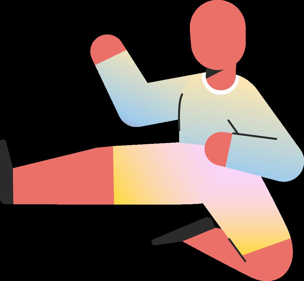 child jump kick Clipart illustration in PNG, SVG