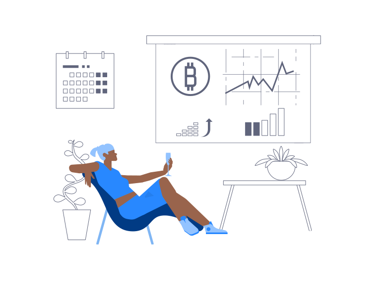 Bitcoin Growth Celebration Clipart illustration in PNG, SVG