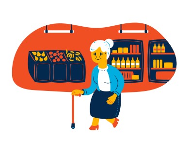 style Old lady at the grocery store images in PNG and SVG | Icons8 Illustrations