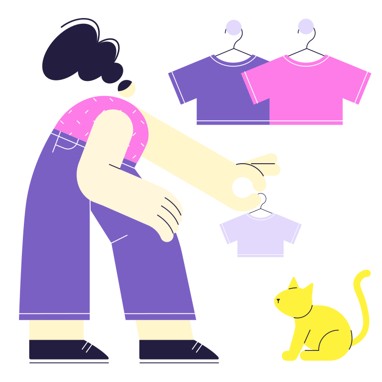 Shopping for a little friend Clipart illustration in PNG, SVG