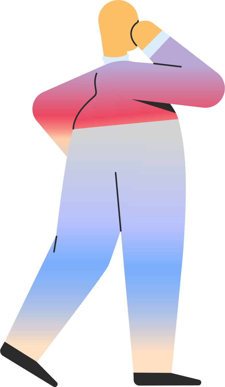 chubby adult standing back Clipart illustration in PNG, SVG