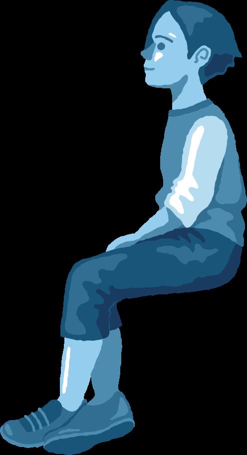 boy sitting profile Clipart illustration in PNG, SVG