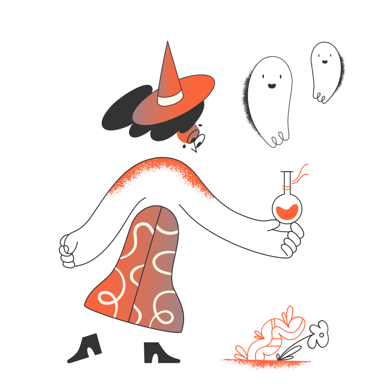 Witch with ghost potion Clipart illustration in PNG, SVG
