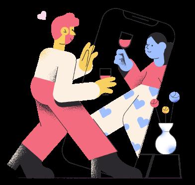 Иллюстрация Онлайн знакомства в стиле  в PNG и SVG | Icons8 Иллюстрации