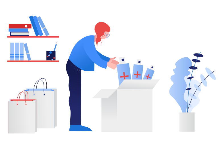 style Woman preparing stock of antiseptics Vector images in PNG and SVG | Icons8 Illustrations