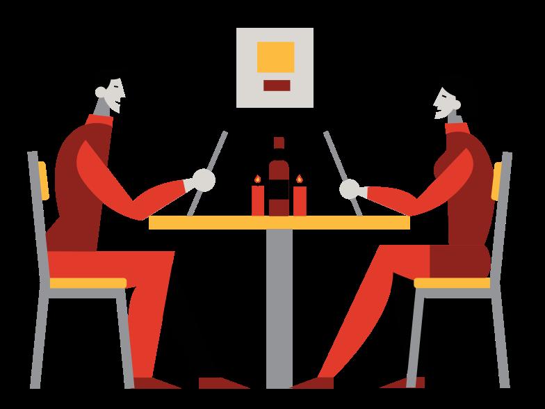 Dinner at the restaurant Clipart illustration in PNG, SVG
