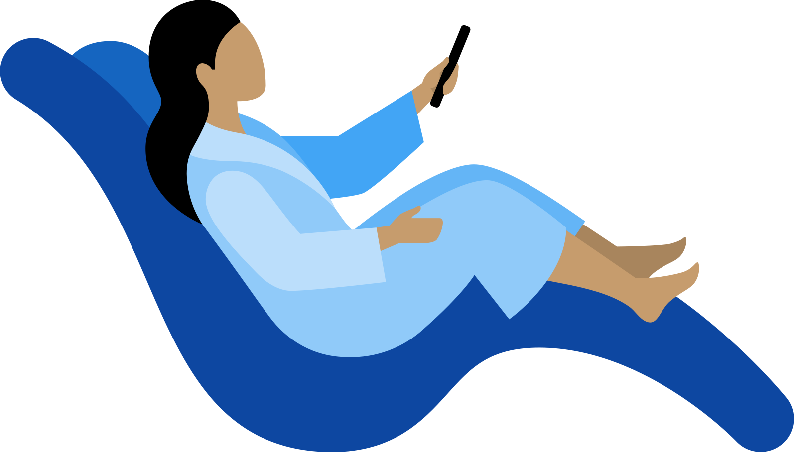 woman in lounge chair with tv remote control Clipart illustration in PNG, SVG