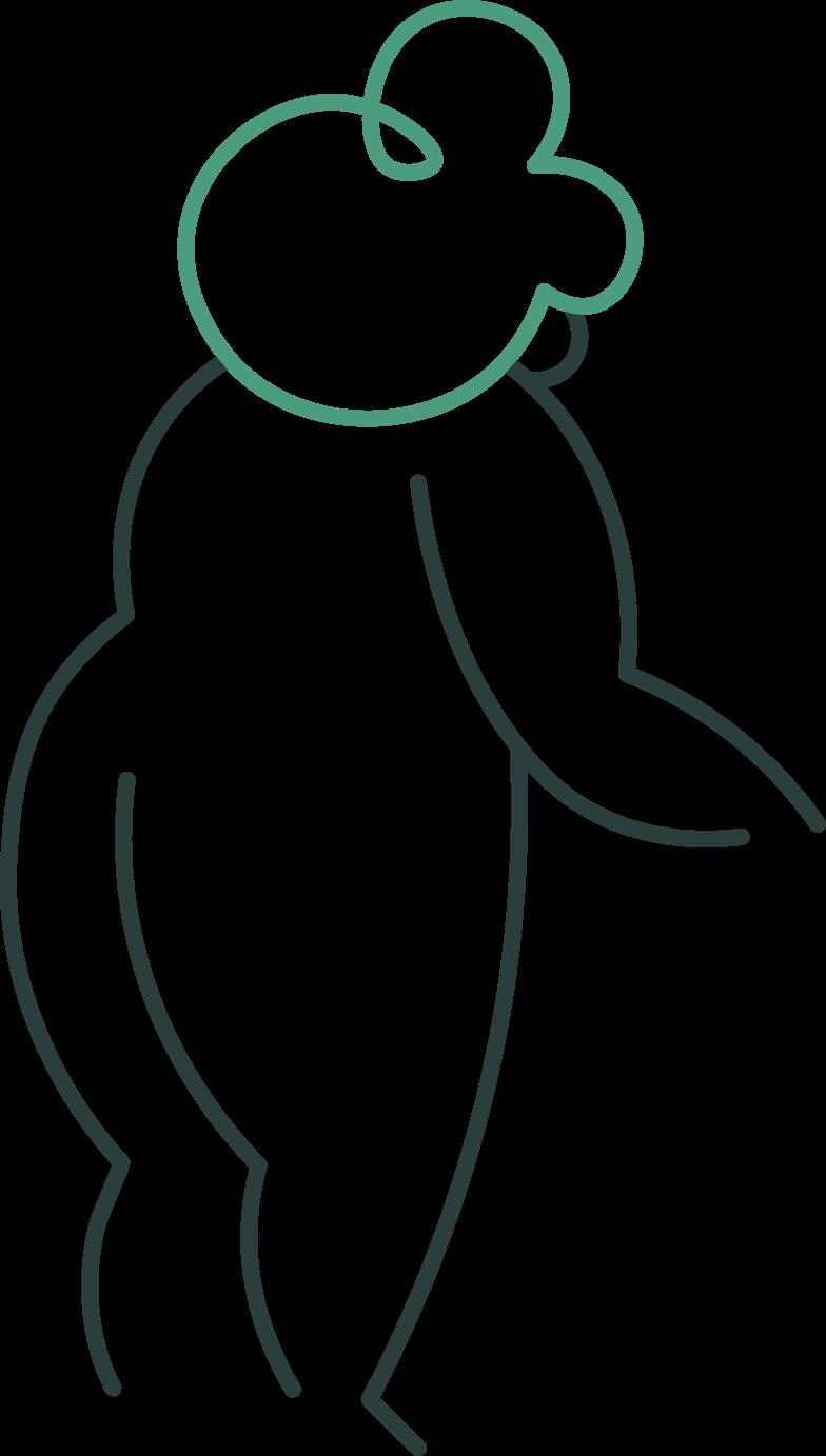 grandmother standing back Clipart illustration in PNG, SVG