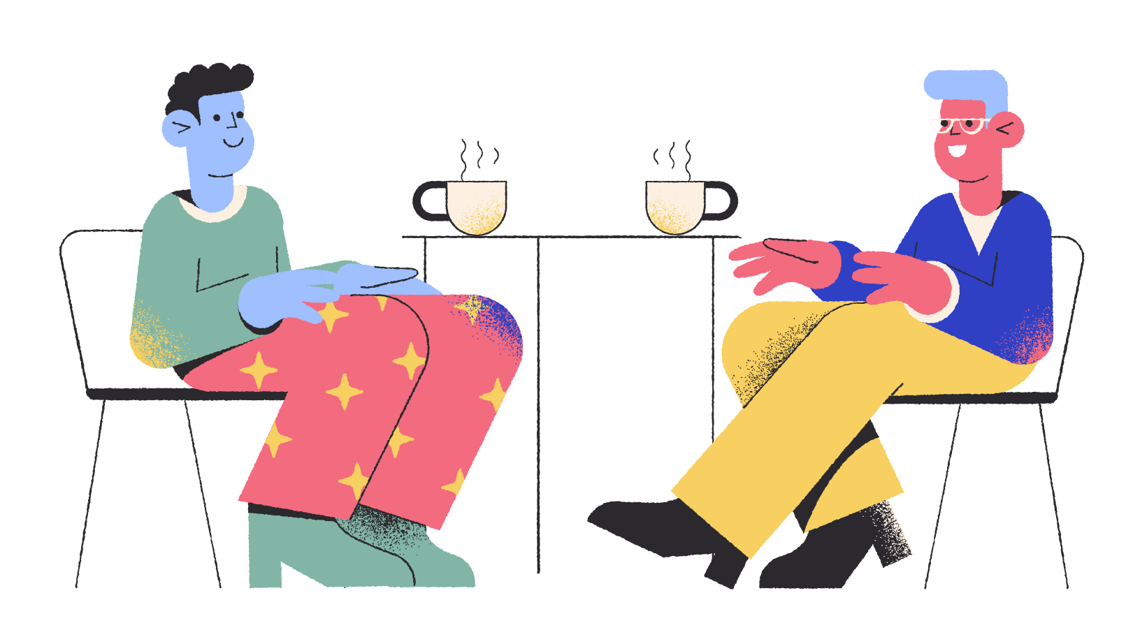 Friends meeting at the coffee shop Clipart illustration in PNG, SVG