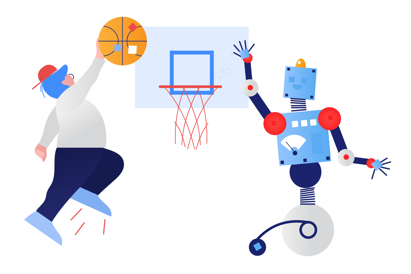 Robot playing basketball Clipart illustration in PNG, SVG