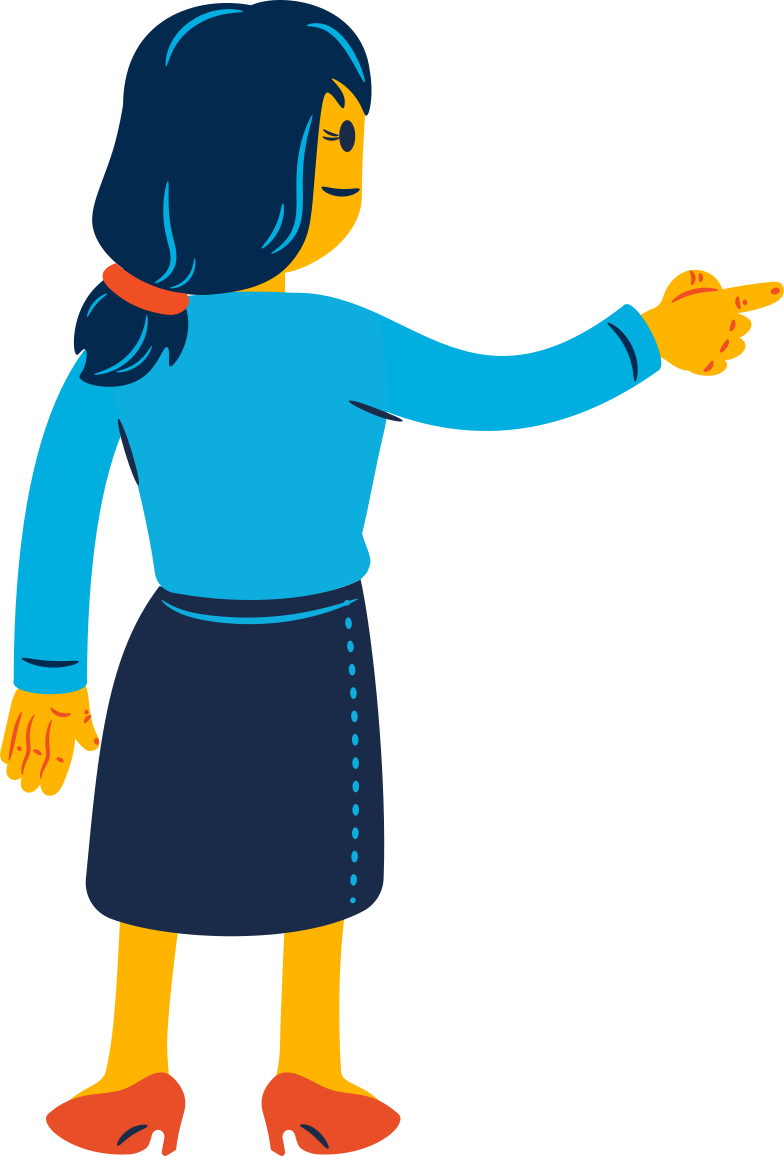woman pointing with her finger Clipart illustration in PNG, SVG