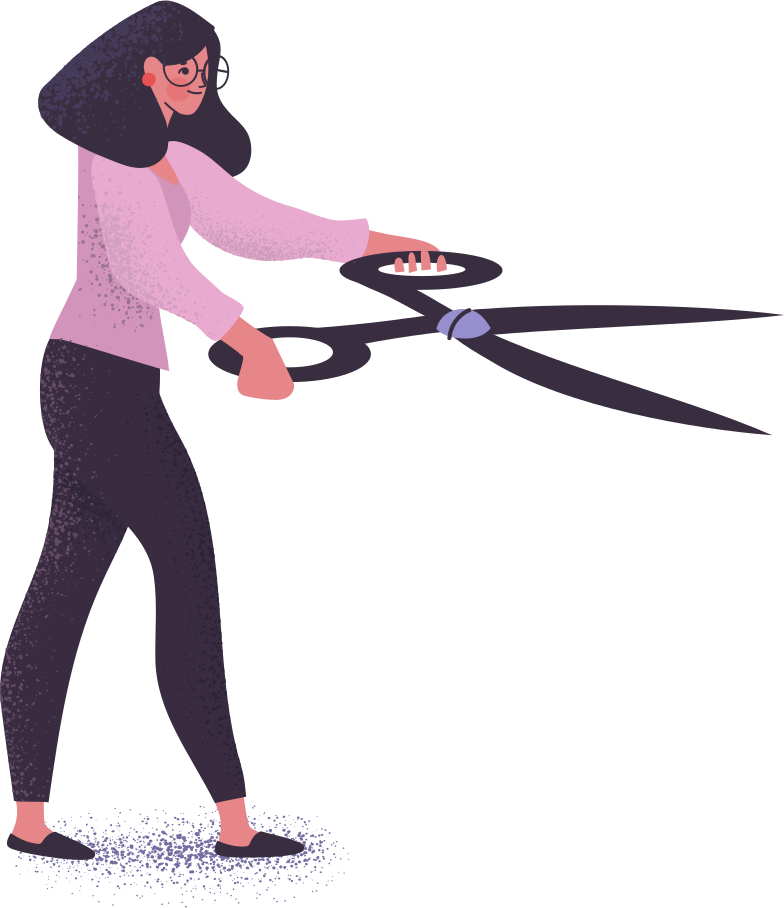woman with scissors Clipart illustration in PNG, SVG