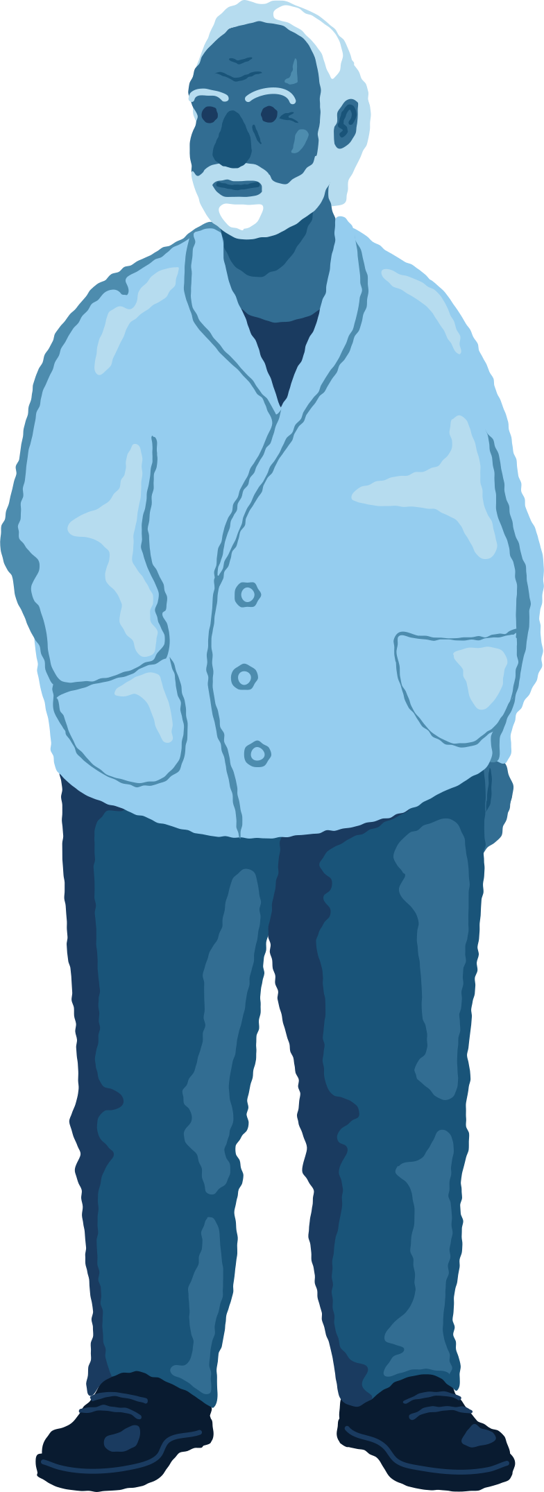 old chubby man standing front Clipart illustration in PNG, SVG